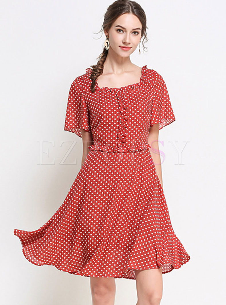 Red Square Sleeve Plus Size Skater Dress