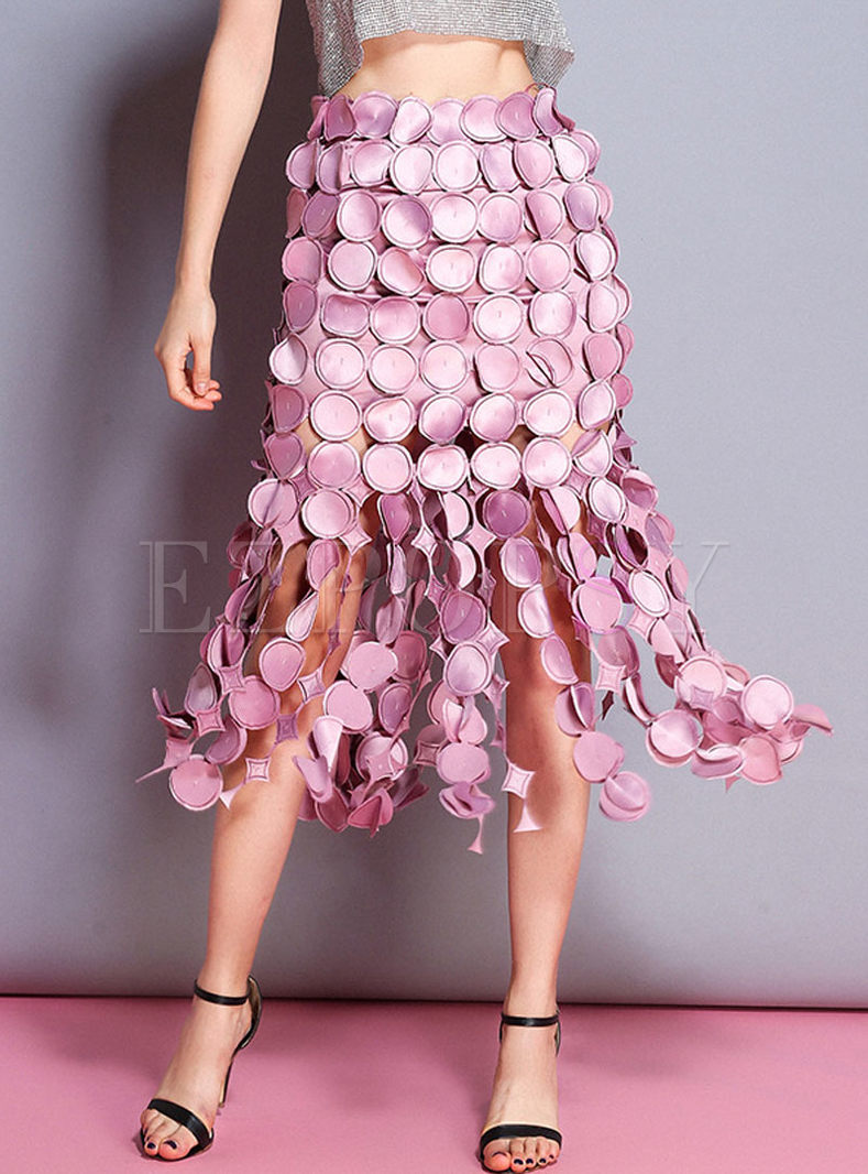 Stylish Hollow Out Pink Skirt
