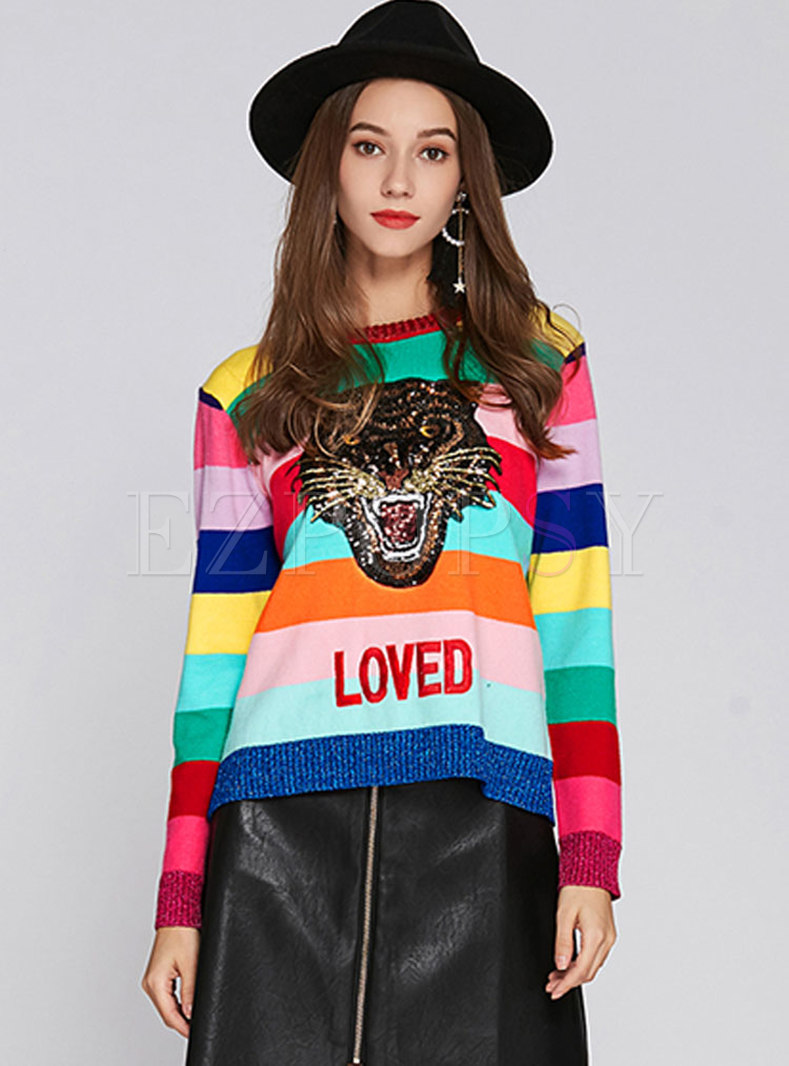 Rainbow Striped Sequin Embroidery Sweater