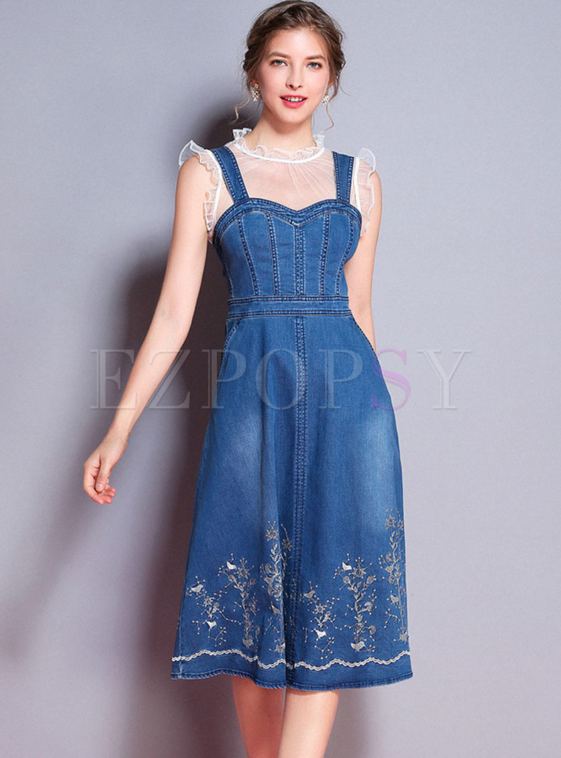 Blue Round Neck Mesh Top & Denim Embroidery Slip Dress