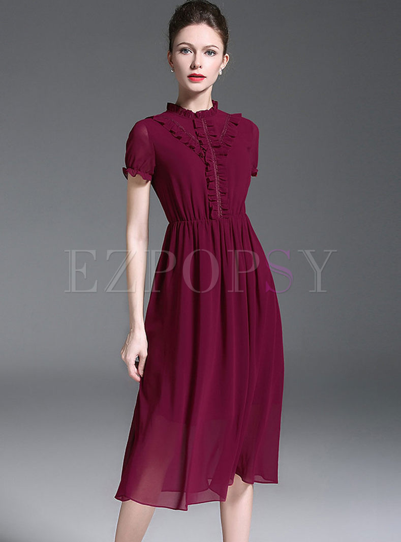 Wine Red Elegant Stand Collar Skater Dress