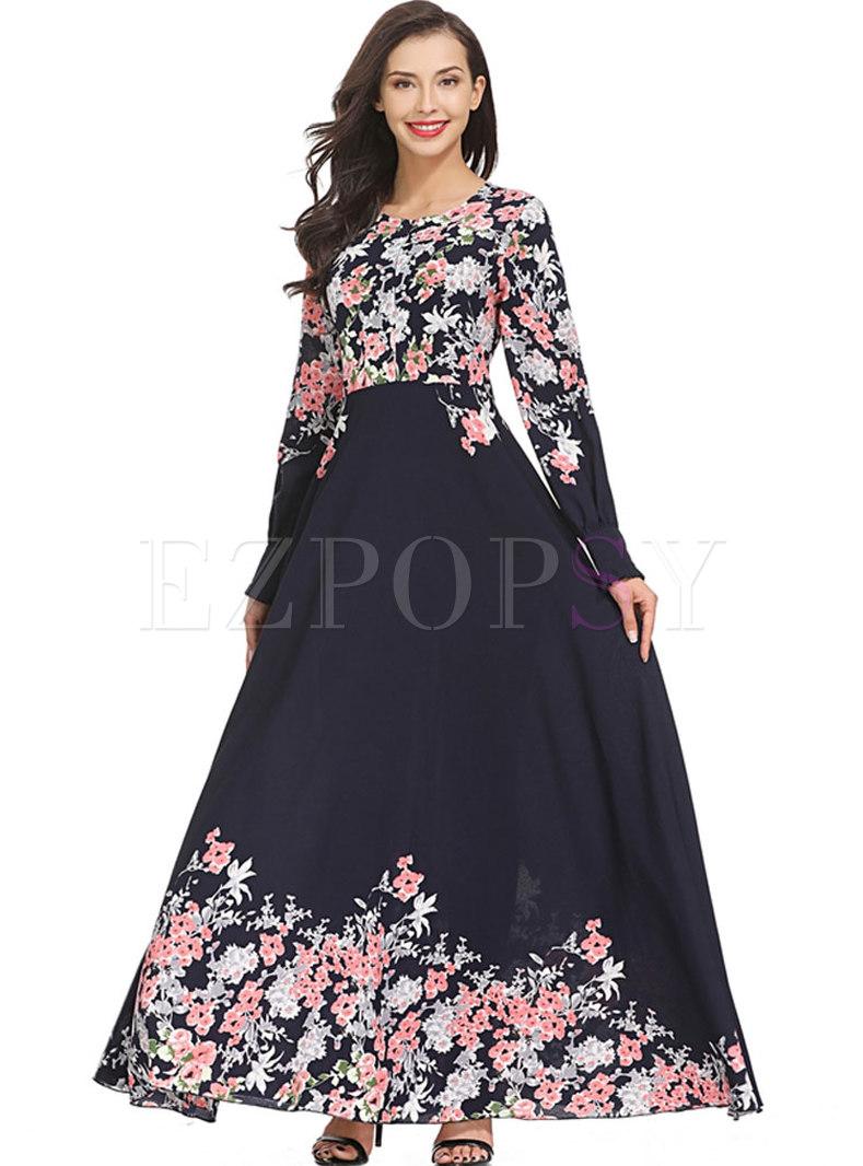 Blue Floral Print Waist Maxi Dress