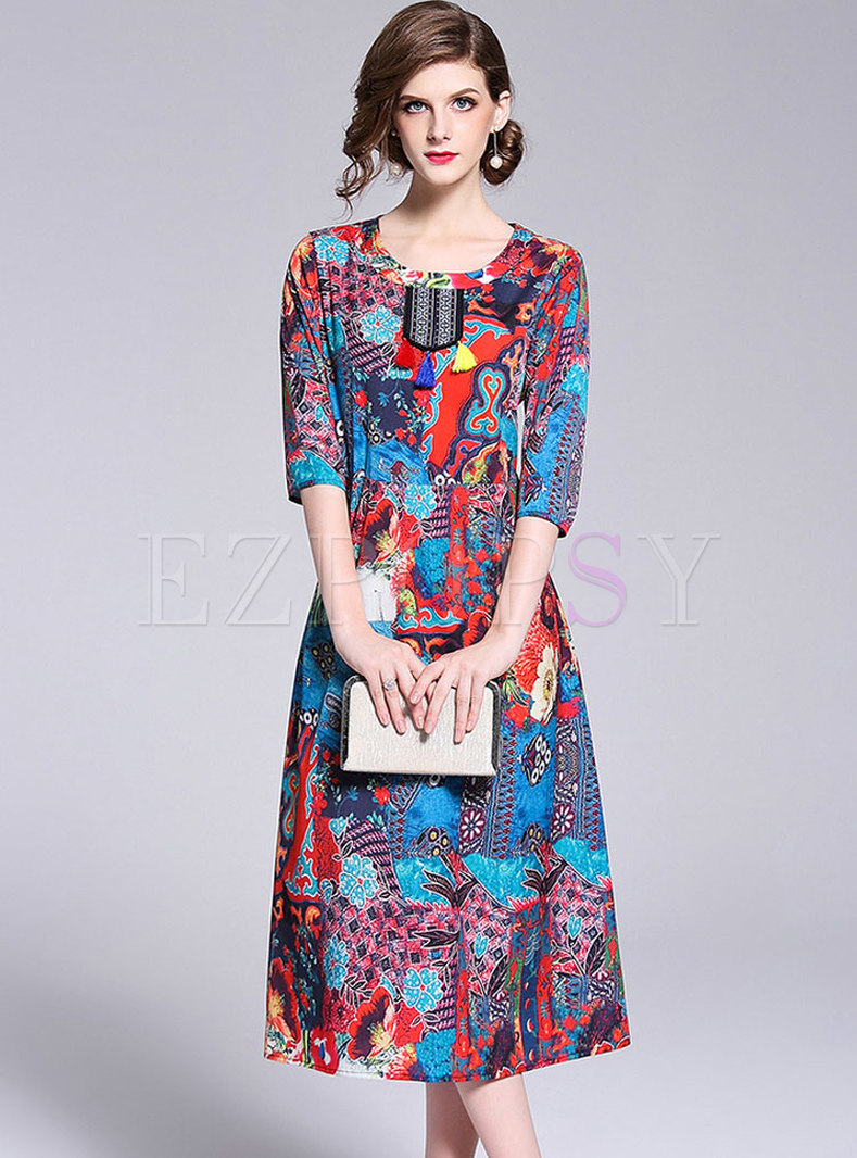 Ethnic Embroidery Three Quarters Sleeve Shift Dress