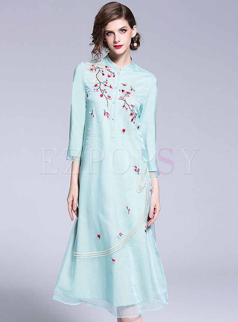 Gauze Embroidered Improved Cheongsam Dress