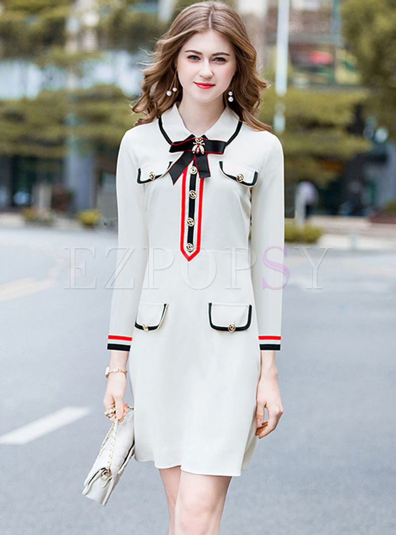 Bowknot Long Sleeve Skater Dress