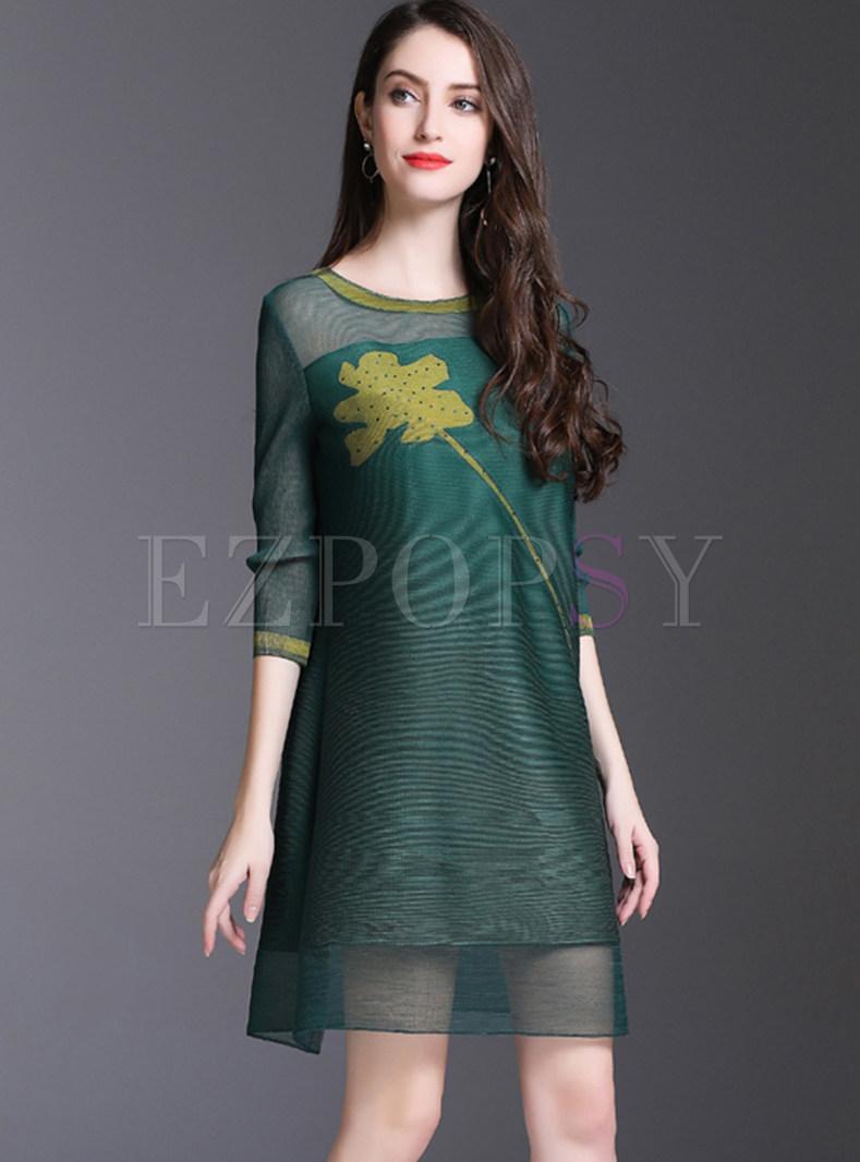 See Through Print Splicing Shift Dress