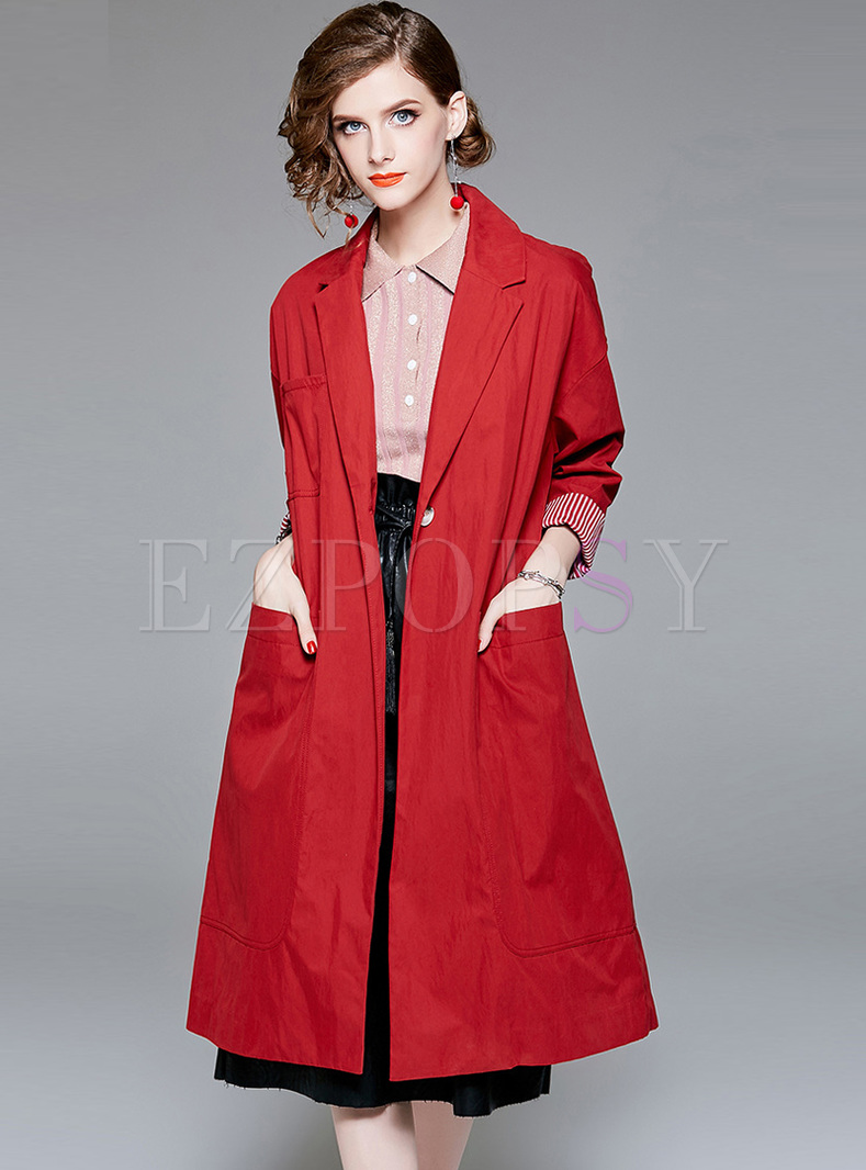 Elegant Red Pocket Trench Coat