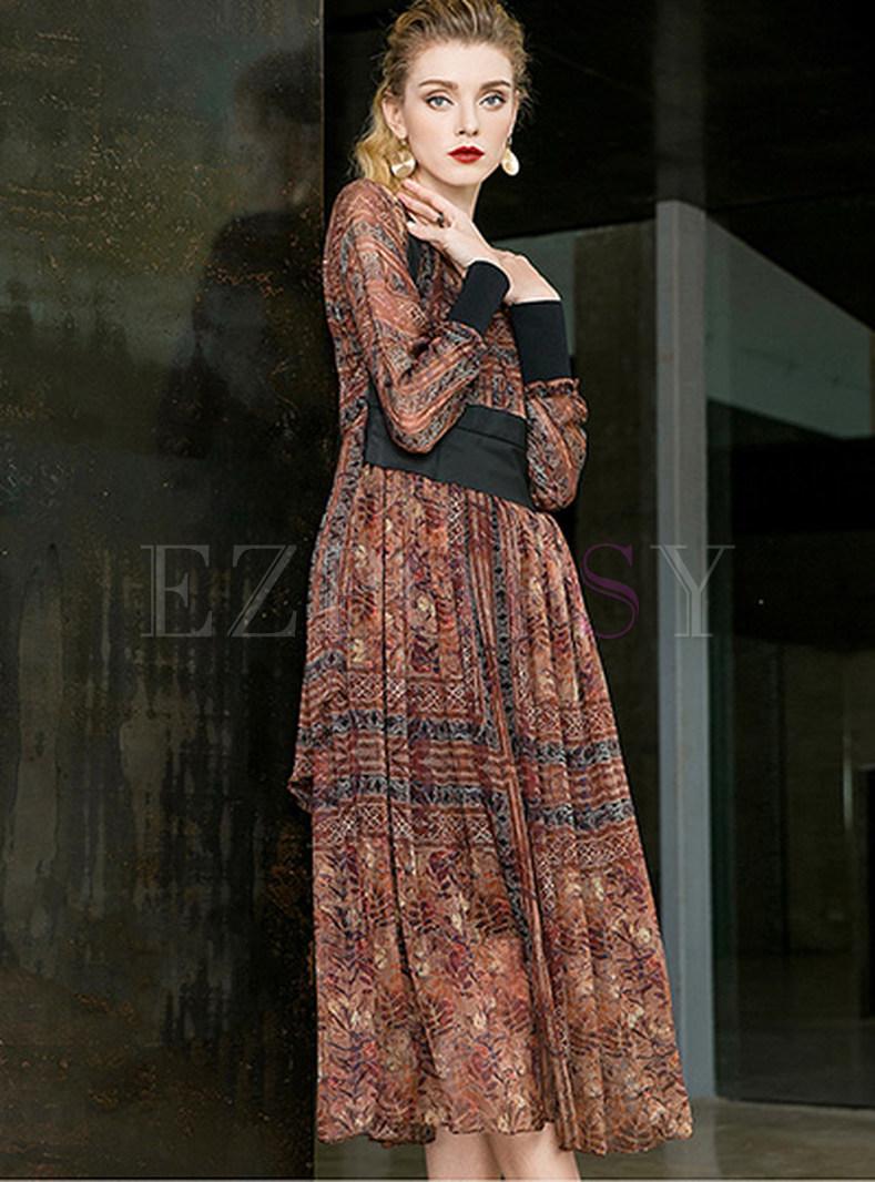 Silk Print High Waist Maxi Dress