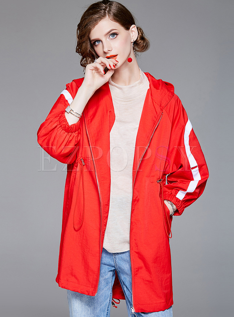 Hooded Slit Zippered Tied Loose Coat