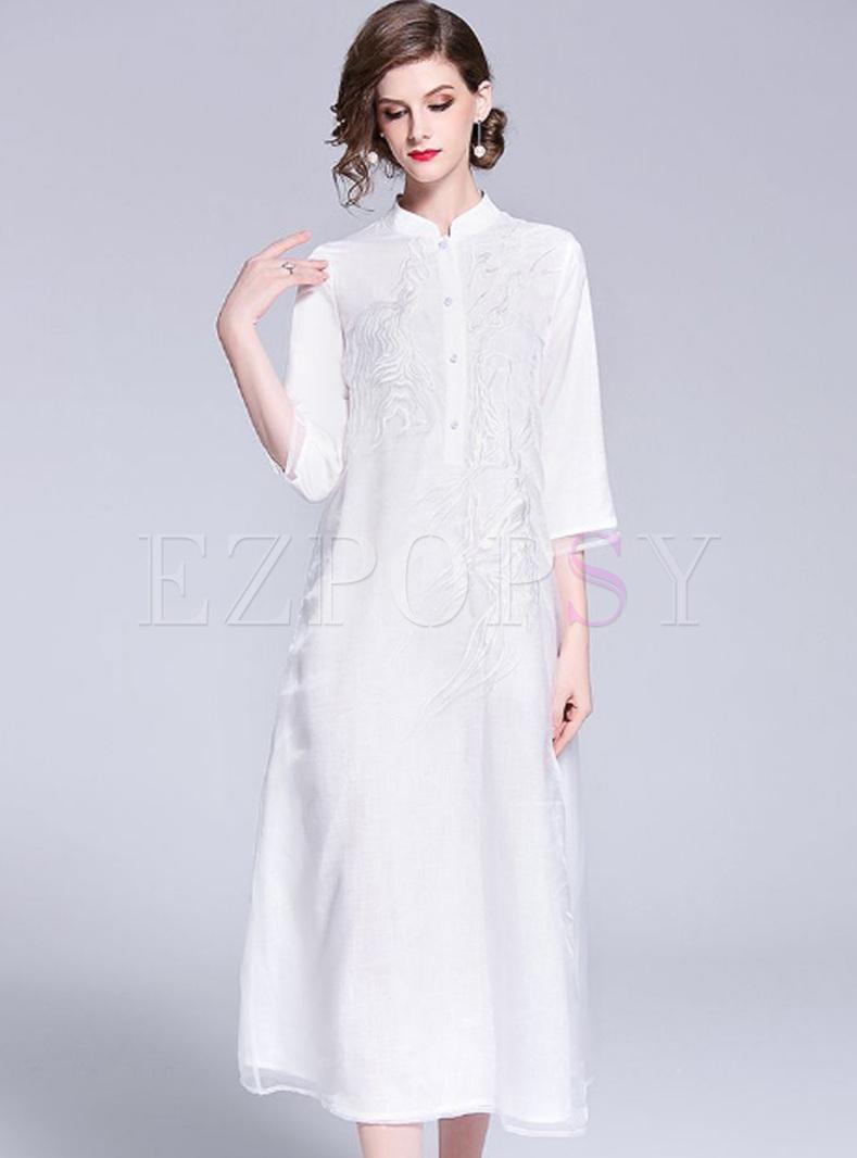499946241 Dresses | Shift Dresses | White Ethnic Embroidered Improved Cheongsam Dress