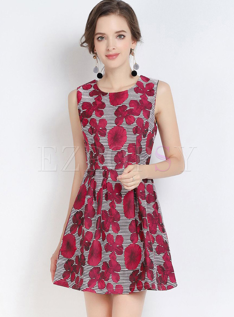 Trendy Print Zippered Waisted A Line Dress
