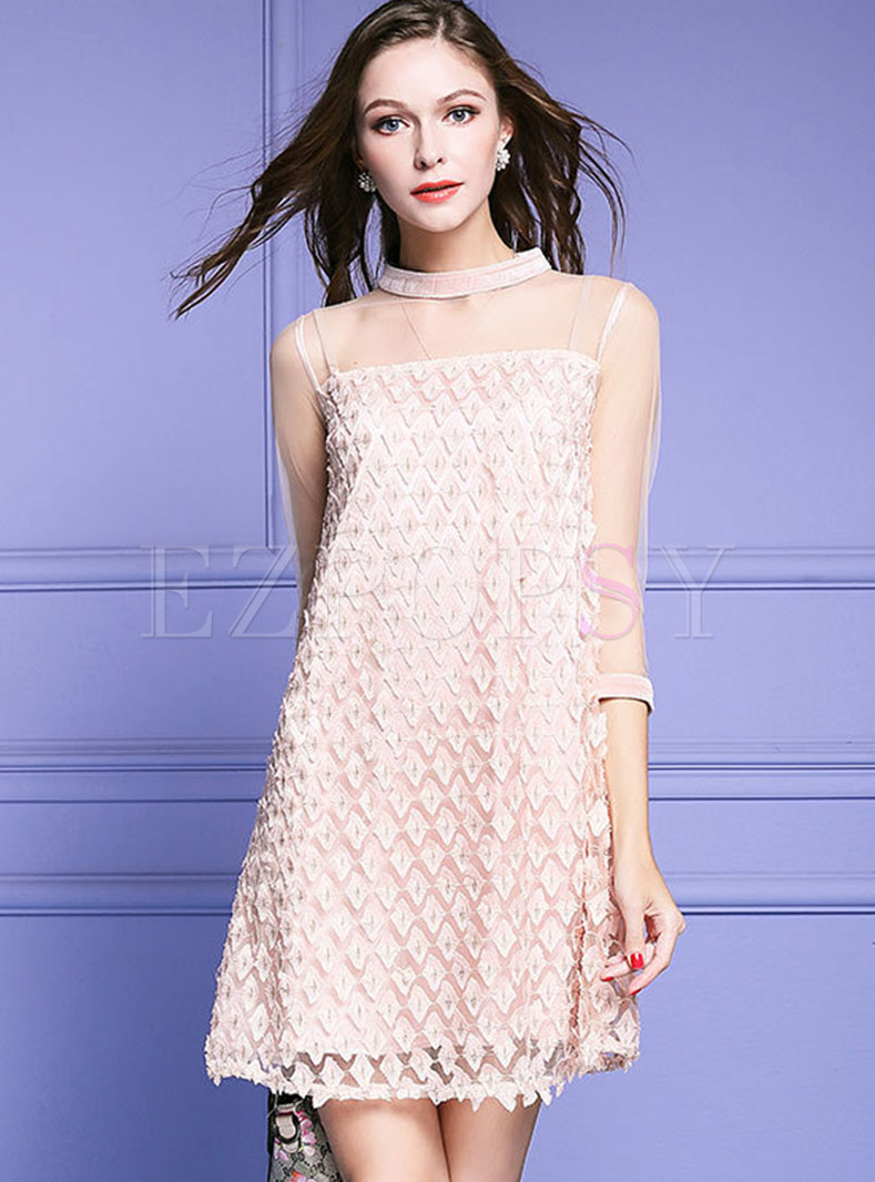 Mesh Hollow Out Shift Dress