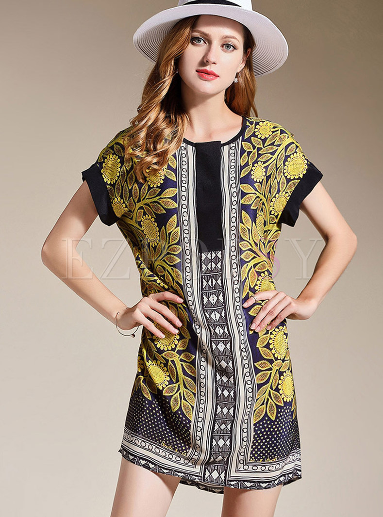 Silk Sunflower Print Plus Size Shift Dress