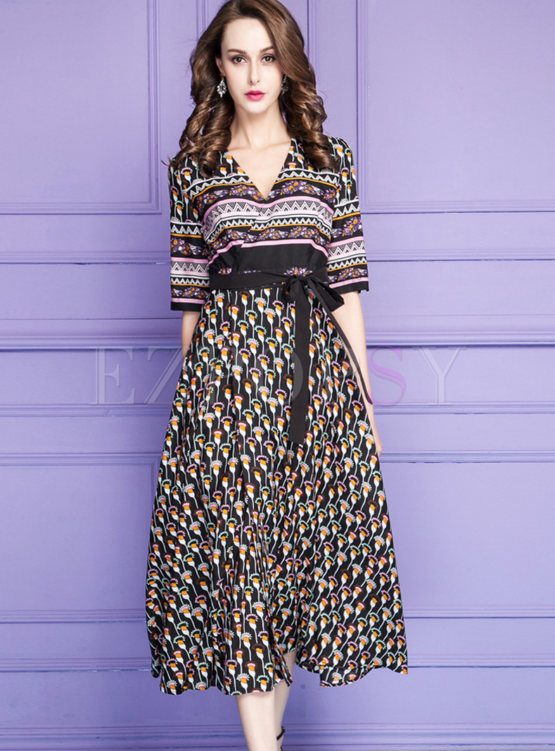 Three Quarter Sleeve Tied Splicing Maxi Dress