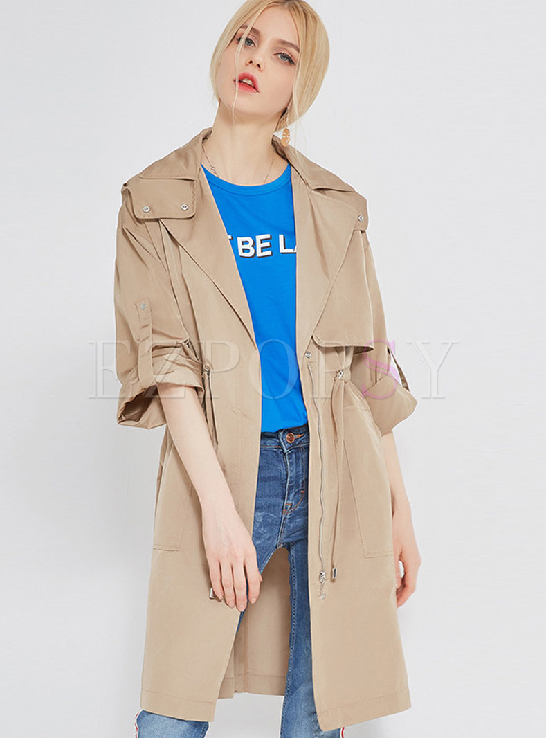Pure Color Waist Slim Trench Coat
