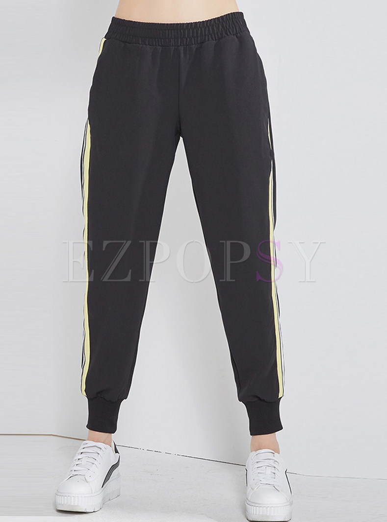 Black Casual Pocket Elastic Waist Pants