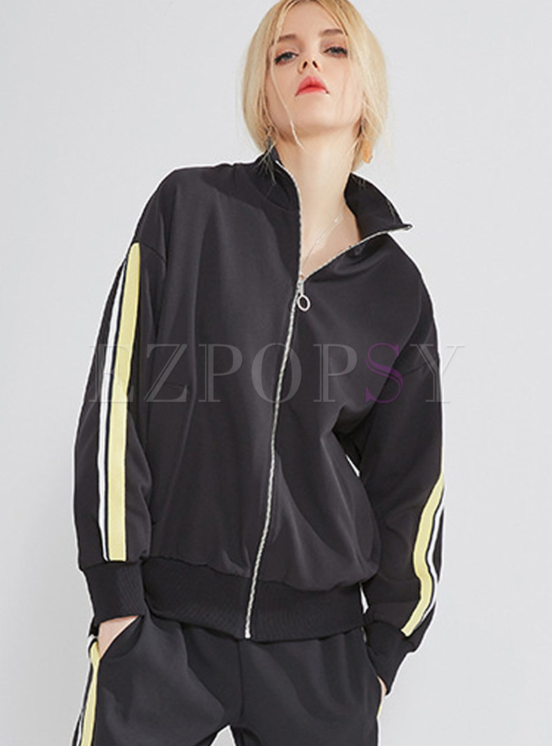 Street Lapel Zippered Loose Coat