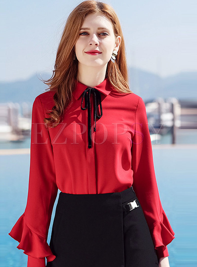 Chic Flouncing Sleeve Bowknot Blouse