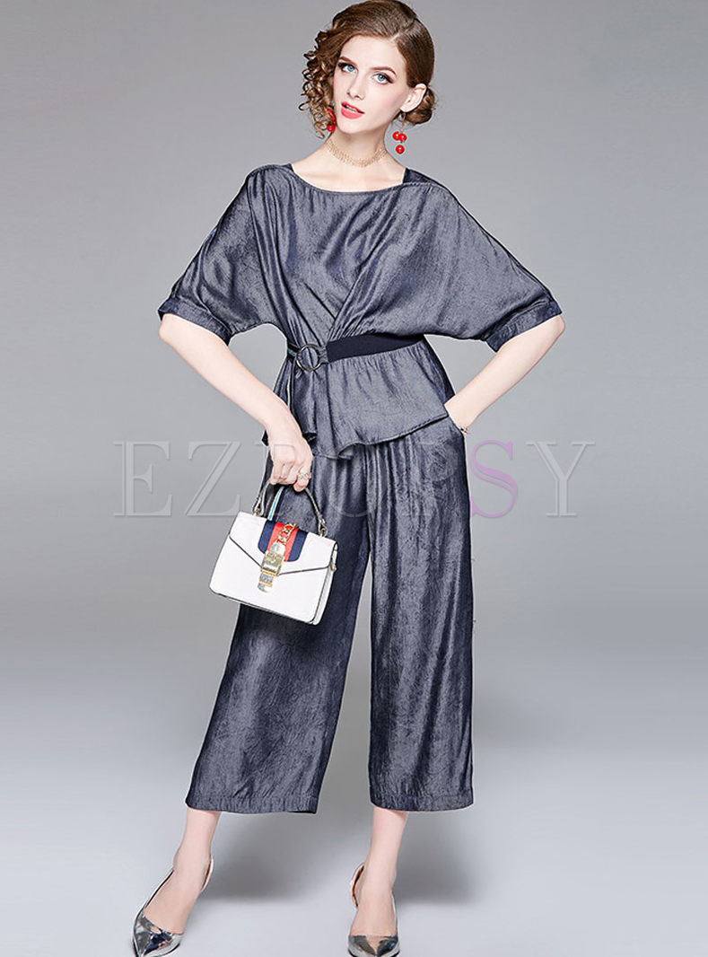 Casual Short Sleeve Belted Top & Wide Leg Pants