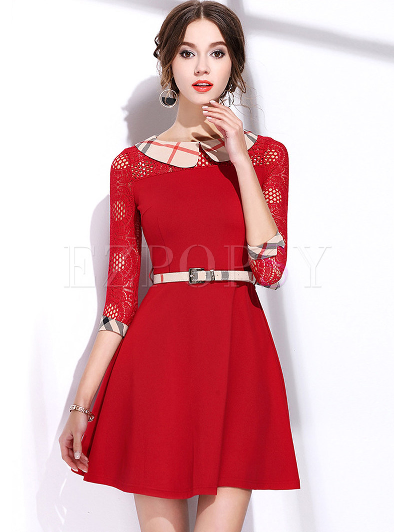 Fashionable Lapel Plaid Lace Splicing Skater Dress