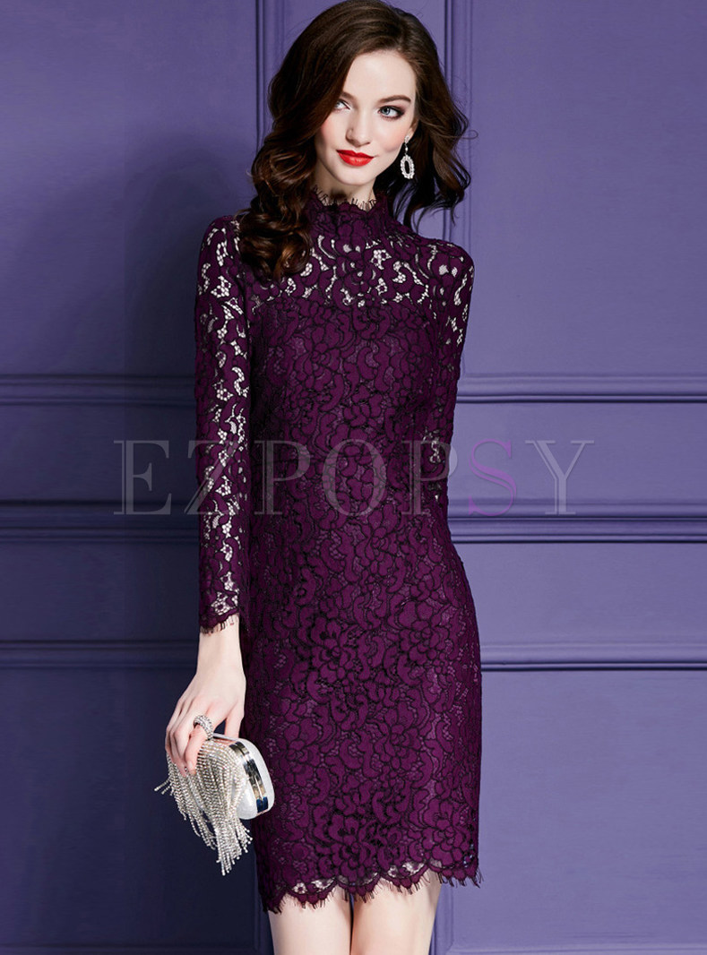 Purple Turtle Collar Lace Sheath Dress