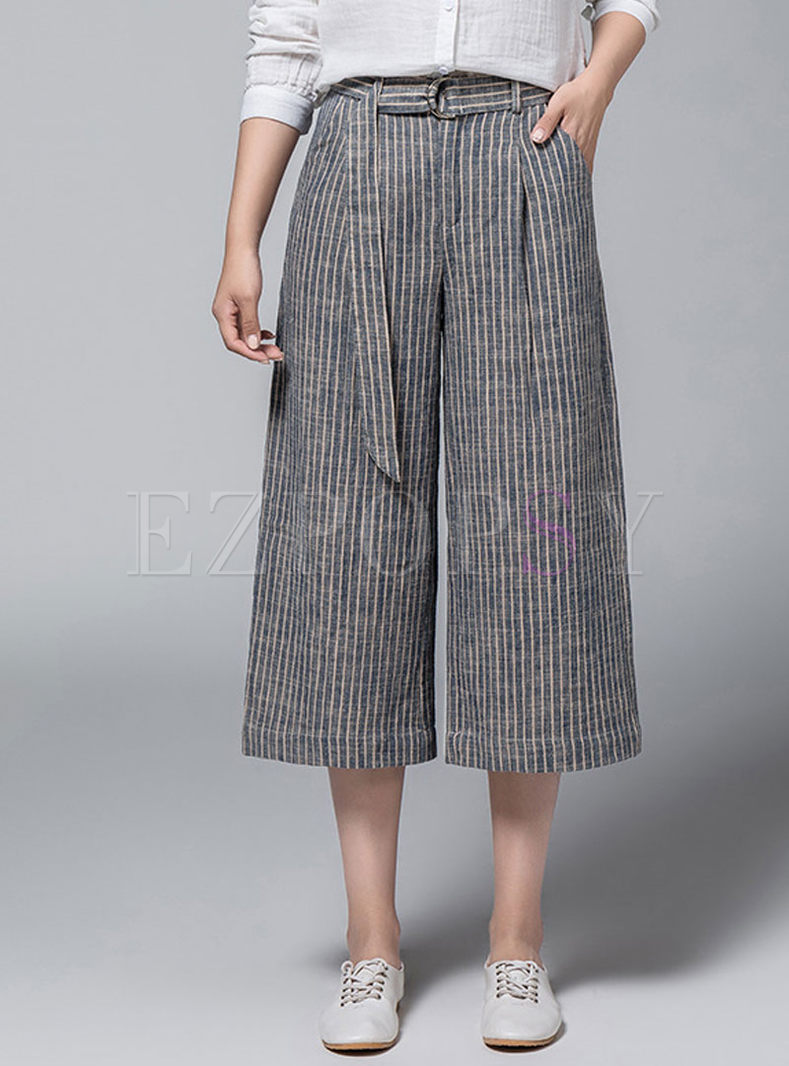 Striped High Waist Belted Wide Leg Pants