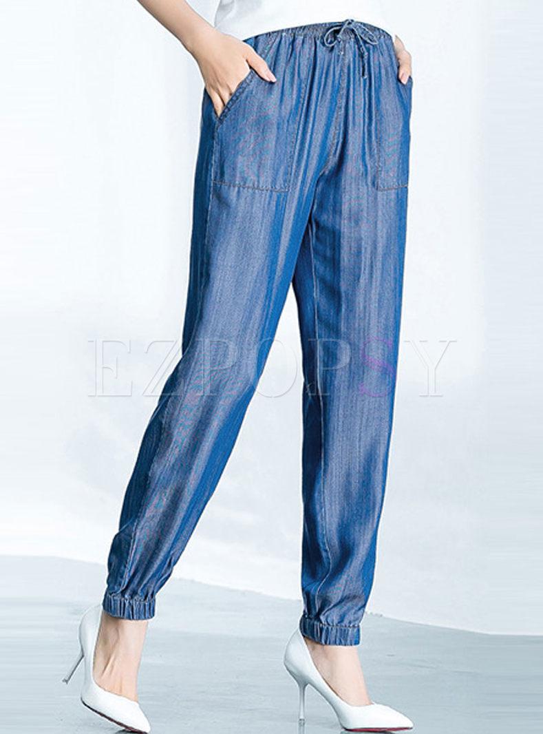 Denim Plus Size Elastic Waist Lantern Pants