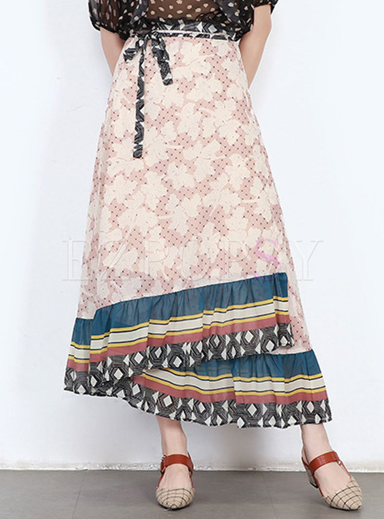 Ethnic Print Tied Layered A Line Skirt