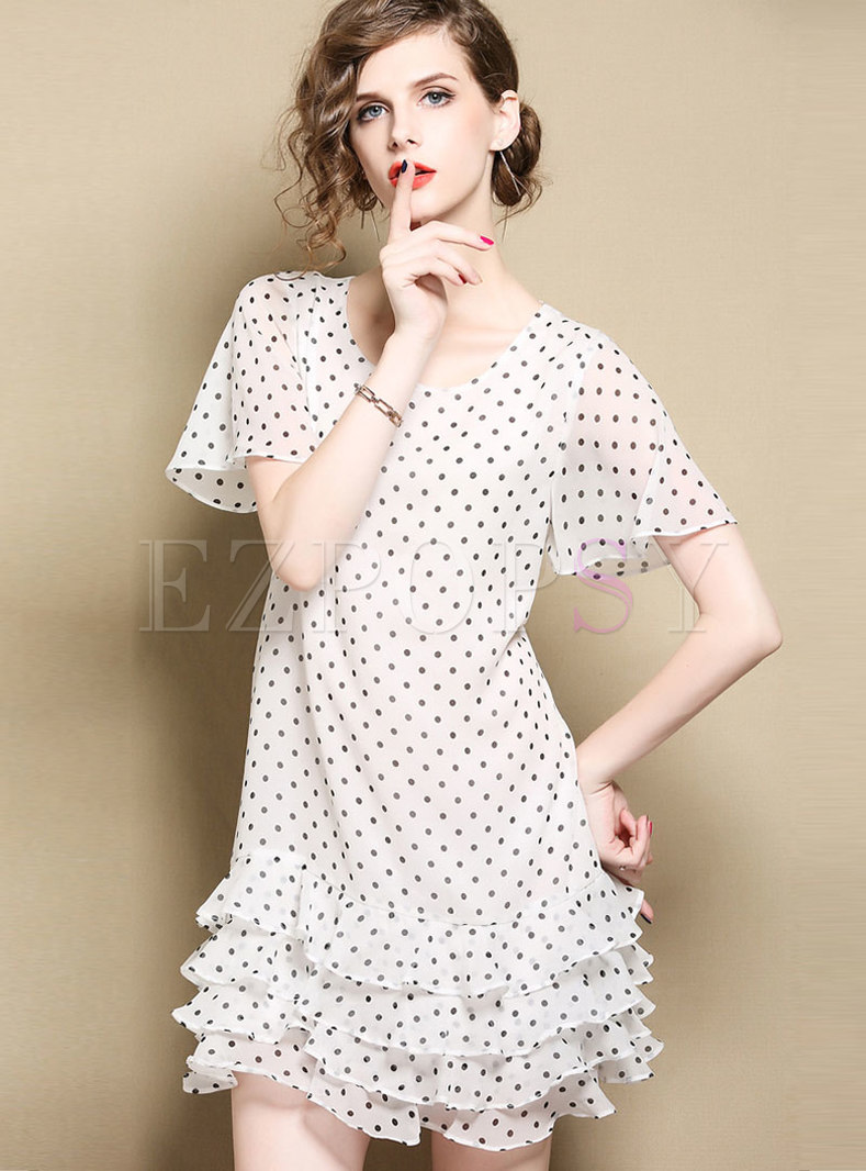 White Crew-neck Polka Dots Skater Cake Dress