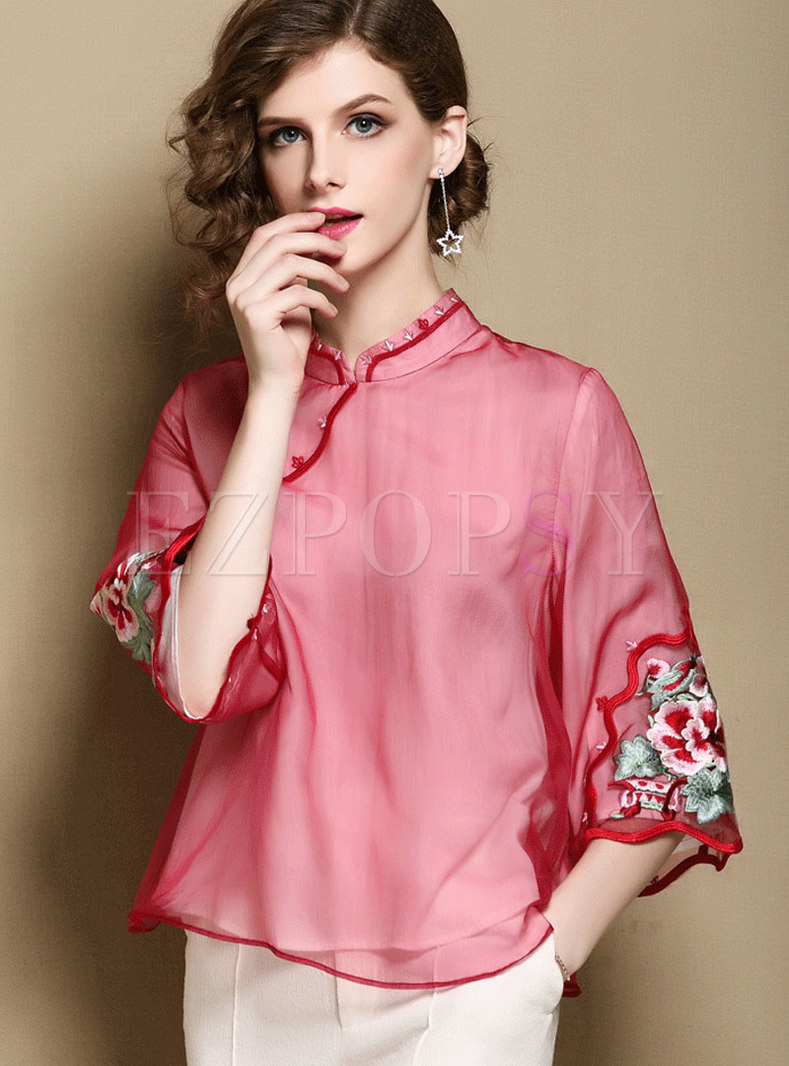 Vintage Stand Collar Double-layered Top