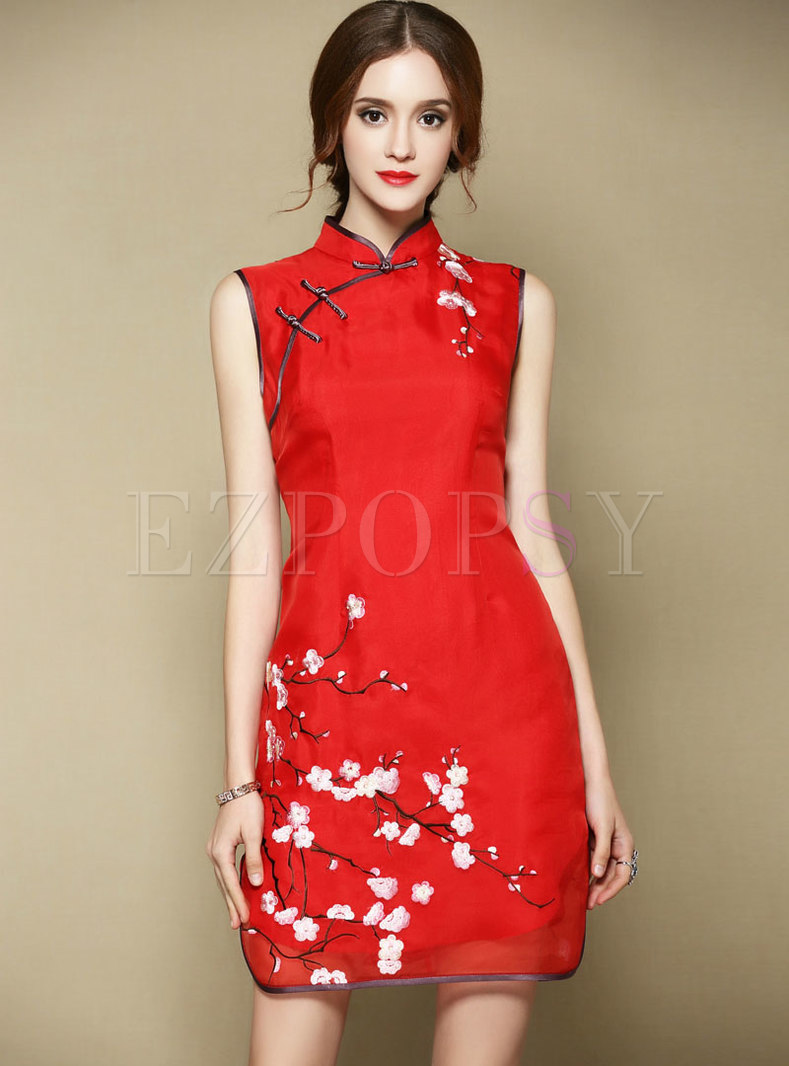 Red Vintage Sleeveless Silk Embroidered Dress