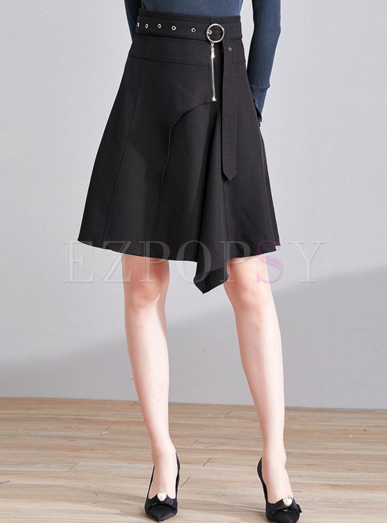 Black Asymmetrical Hem Belted Skirt