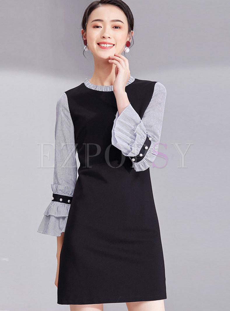 Flare Sleeve Beaded Striped Sheath Slim Dress
