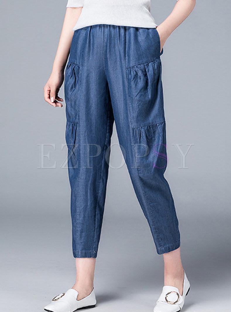 Casual Elastic Waist Splicing Pleated Harem Pants