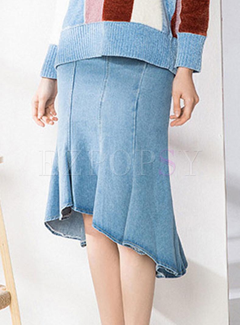Denim High Waist Asymmetric Hem Slim Skirt