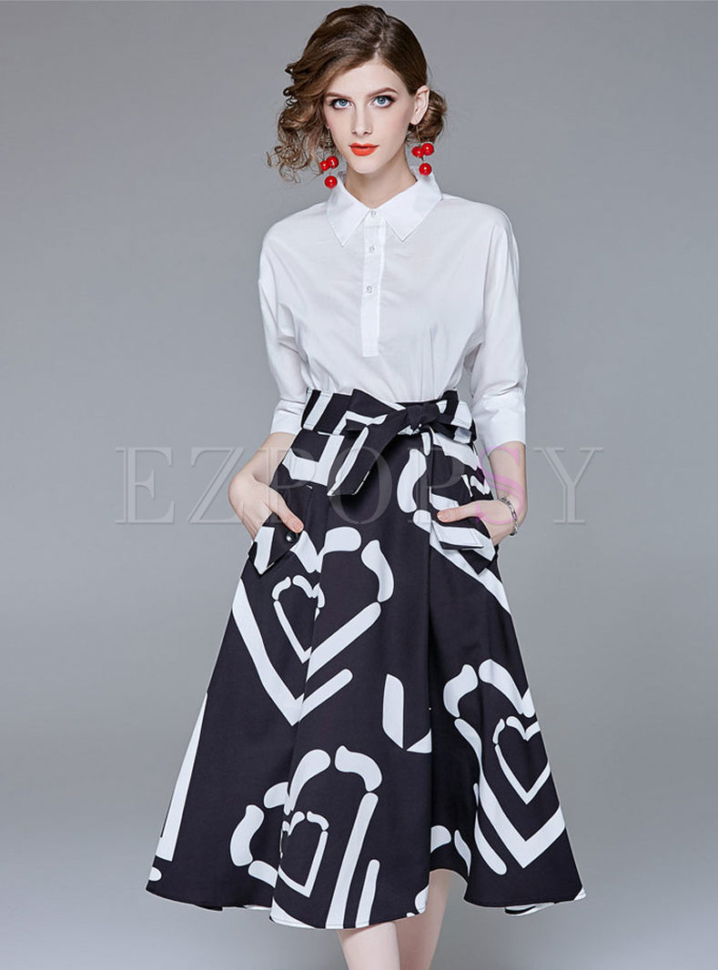 White Lapel Long Sleeve Blouse & High Waist Print Belted A Line Skirt