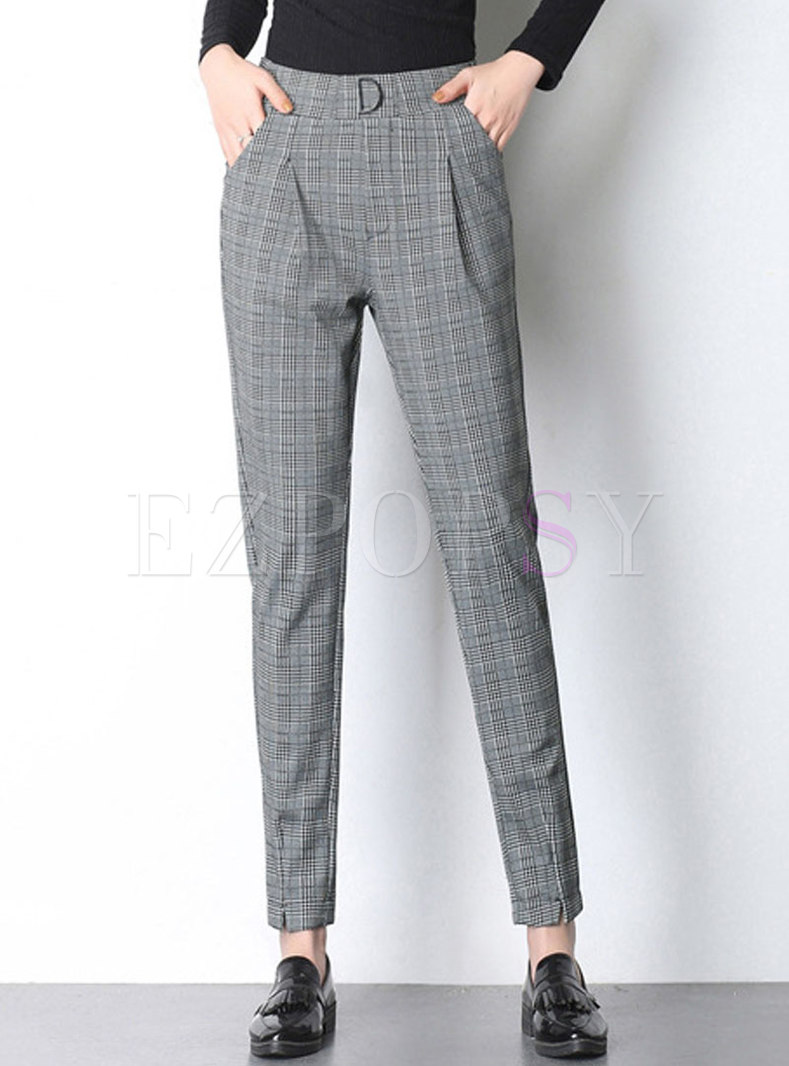 Work Daily High Waist Monochrome Pencil Pants