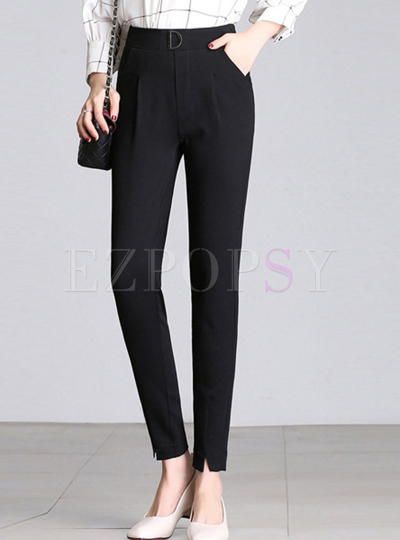 Work Solid Color High Waist Pencil Pants