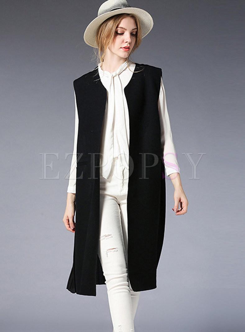 Fashionable V-neck Plus Size Color-blocked Vest