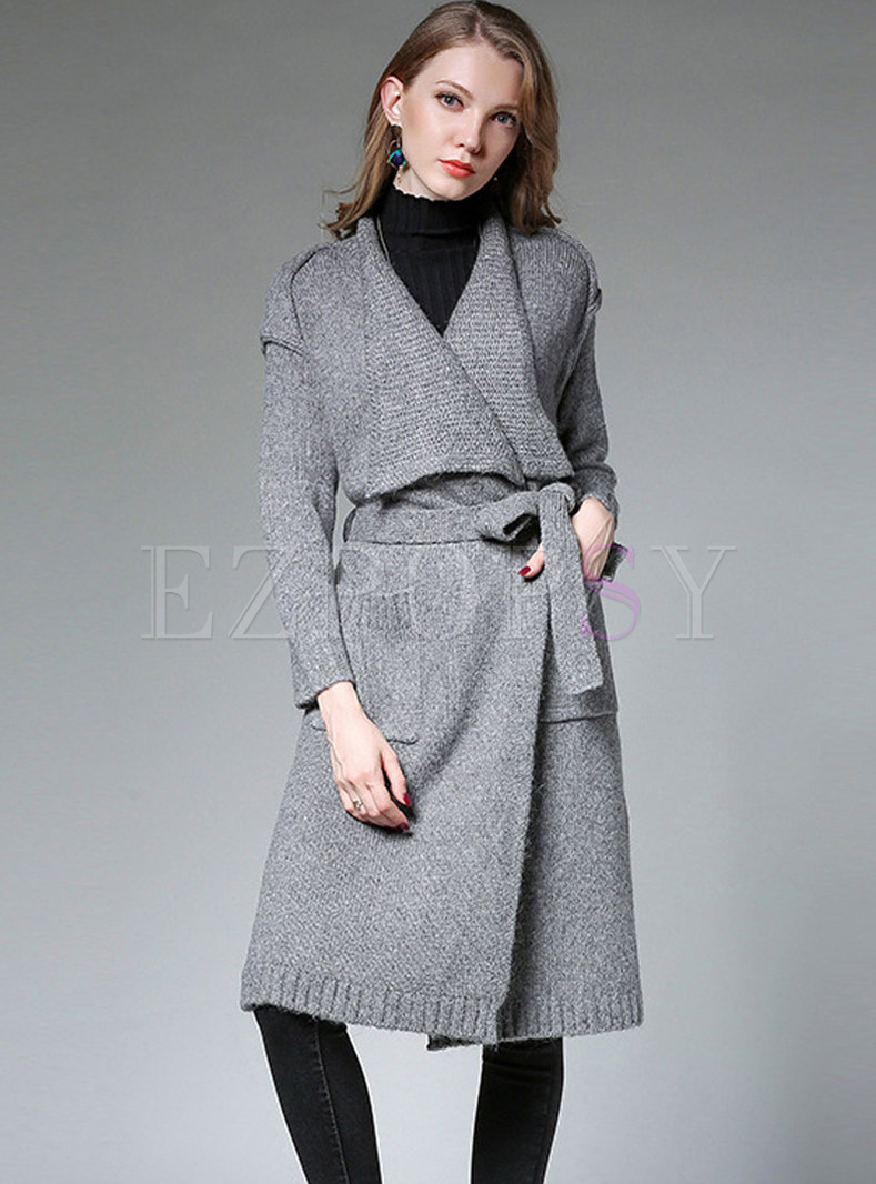 Solid Color Lapel Tied Loose Knitted Coat