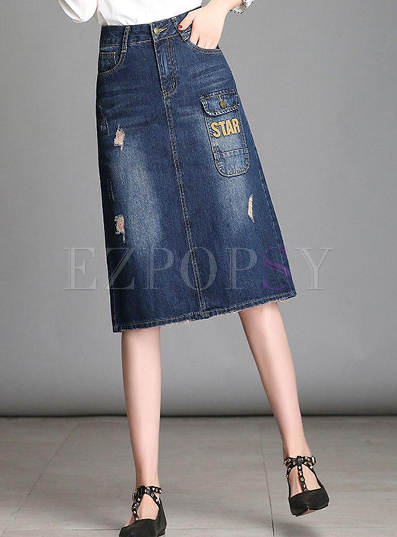 Trendy High Waist Washed Denim Sheath Midi Skirt