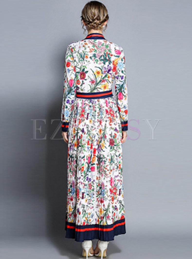 cf7a3bb26fe0 Dresses | Maxi Dresses | Lapel Single-breasted Pleated Print Maxi Dress