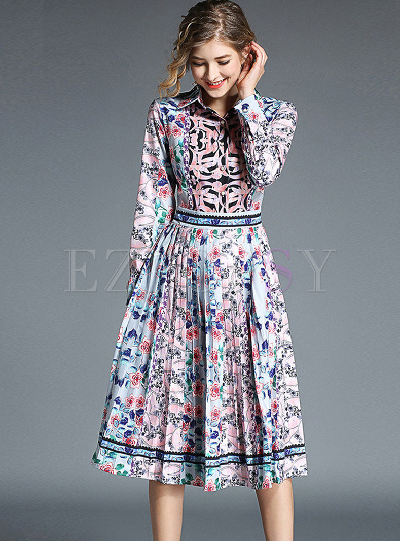 Vintage Lapel Long Sleeve Waist Print Dress