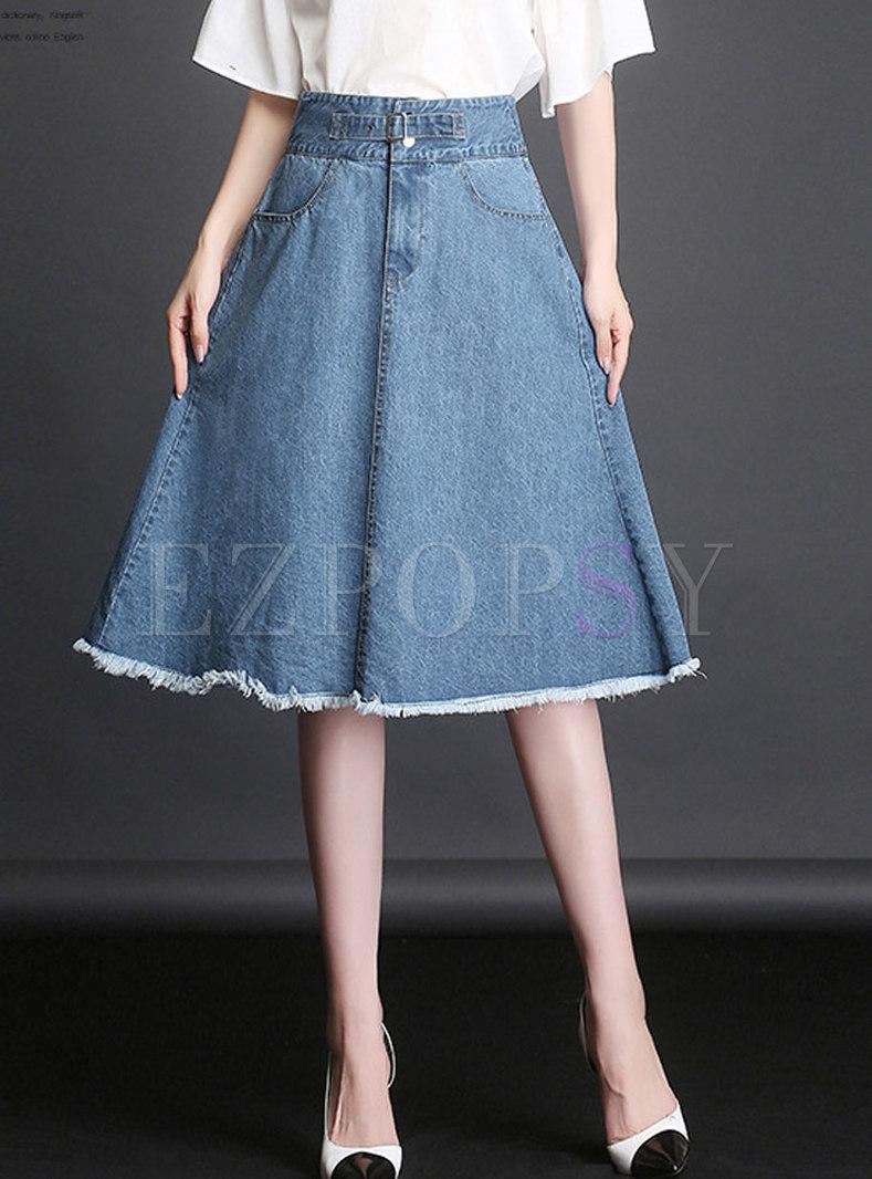 Deep Blue Denim Big Hem Skater Skirt