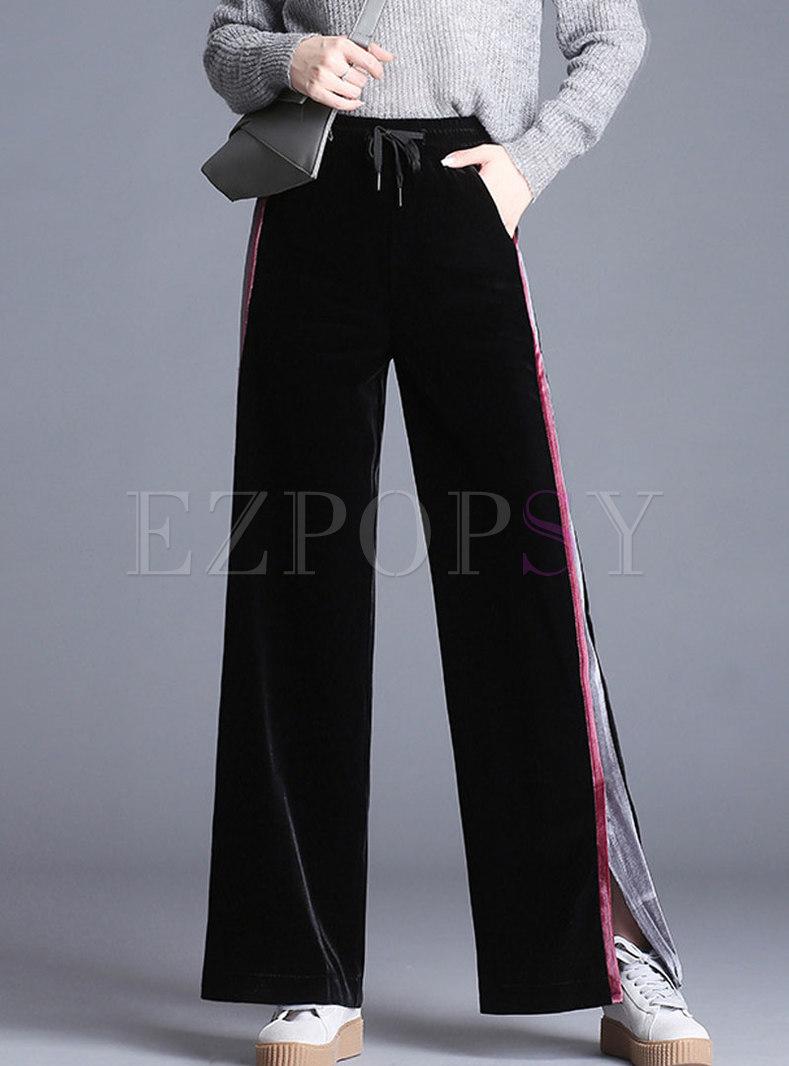 14c6f024b3 Pants | Pants | Tied Waist Color-block Slit Wide Leg Pants