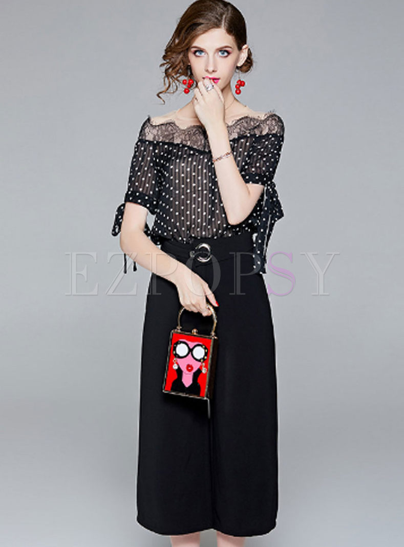 a685615e49 Two-piece Outfits   Two-piece Outfits   Lace Splicing Polka Dot Print Top &  Black Belted Wide Leg Pants