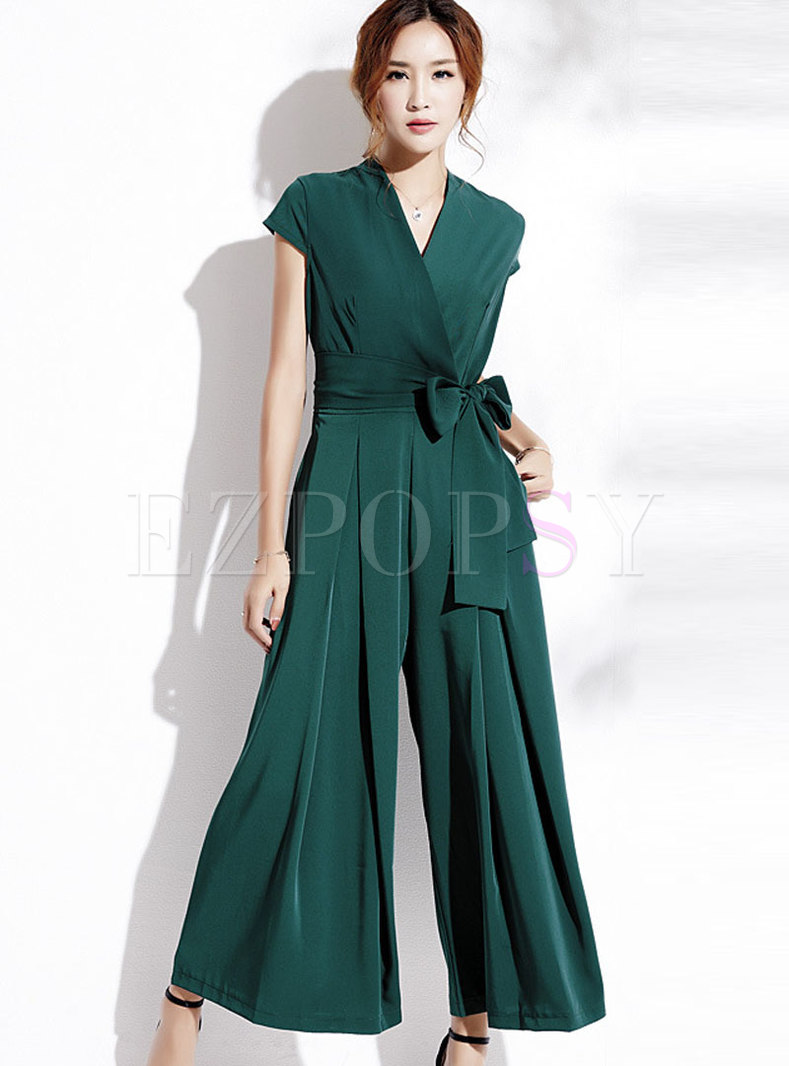Fashionable Green Self-Tie Loose Jumpsuit
