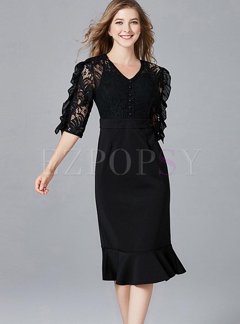 Paty Plus Size Lace Half Sleeve Mermaid Dress