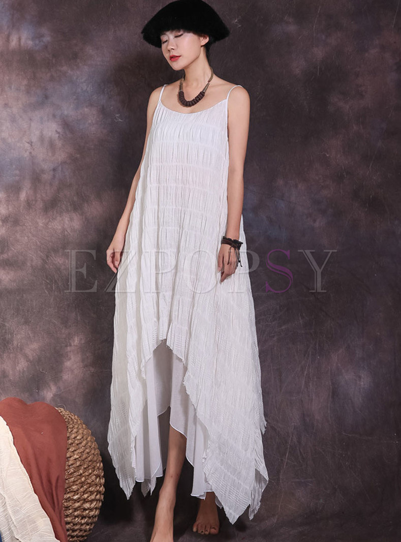 Fashionable Monochrome Asymmetric Sling Dress