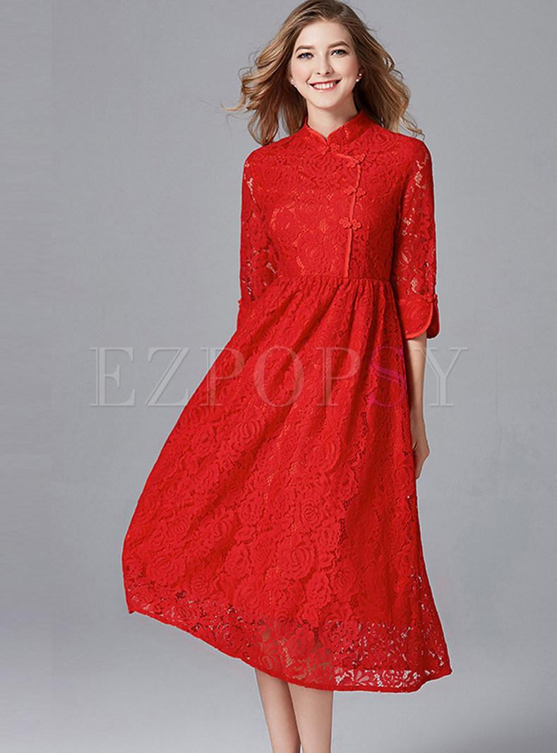 Elegant Single-breasted Slit Big Hem Dress